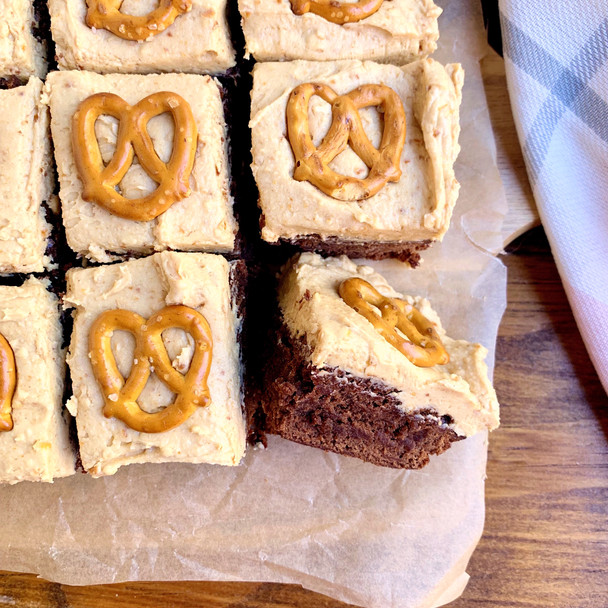 Guinness Brownies with Peanut Butter Pretzel Frosting