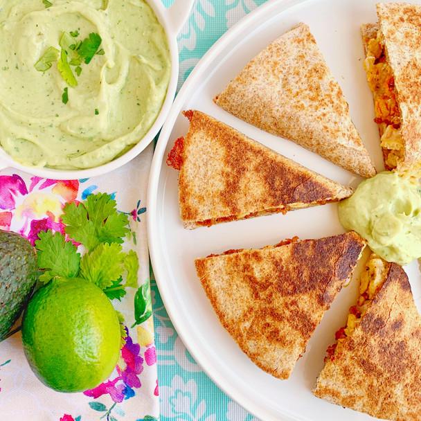 Breakfast Quesadillas with Spicy Avocado Crema