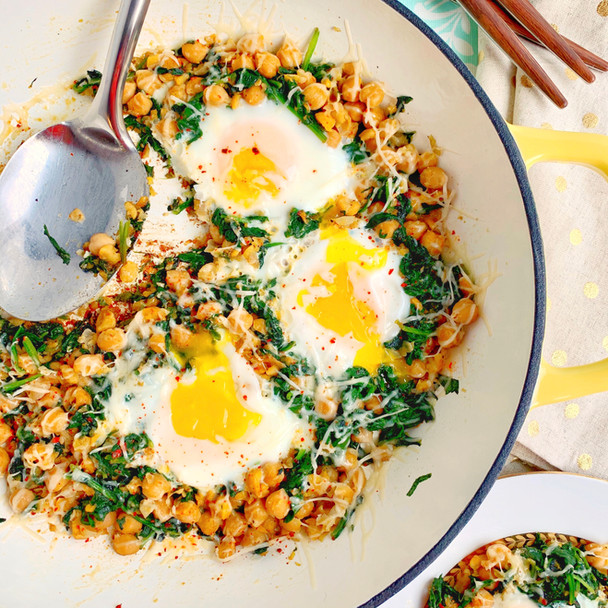 Spinach, Chickpea, and Egg Skillet