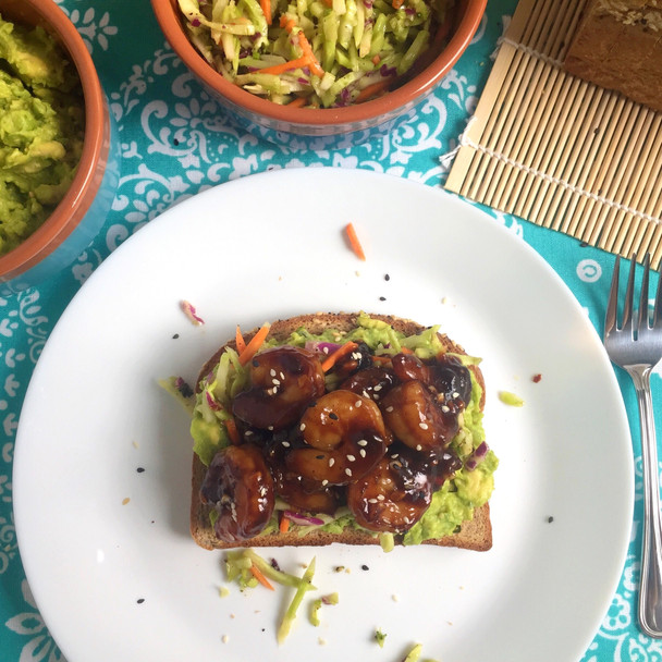 Asian Shrimp Avocado Toast