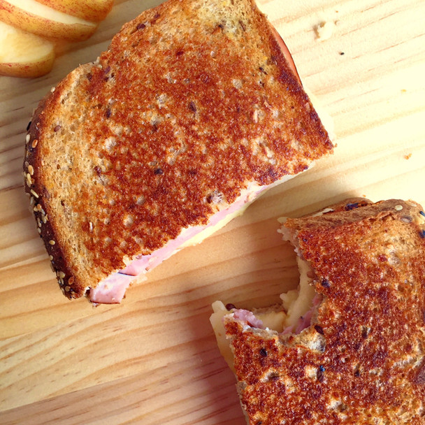 Ham, Apple, and Horseradish Cream Grilled Cheese