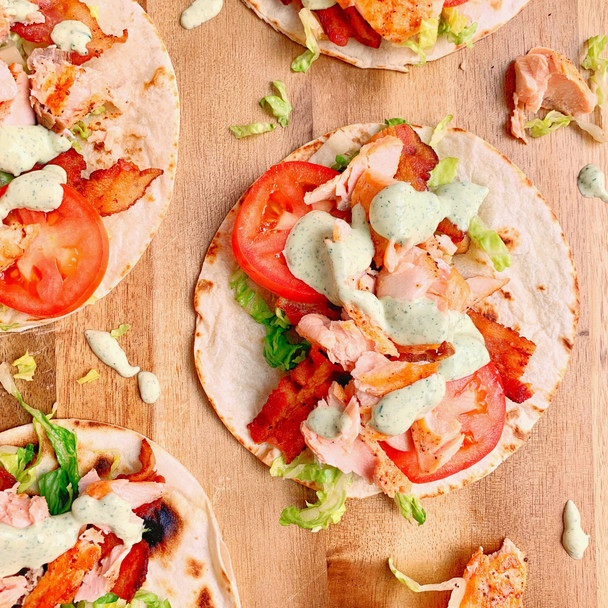 Salmon BLT Tacos with Garden Herb Sauce