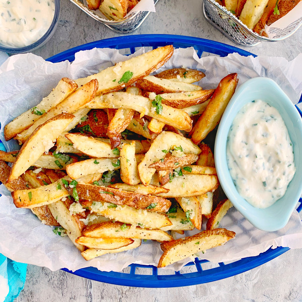 Air Fried Truffle Parmesan Fries with Garlic Chive Aioli