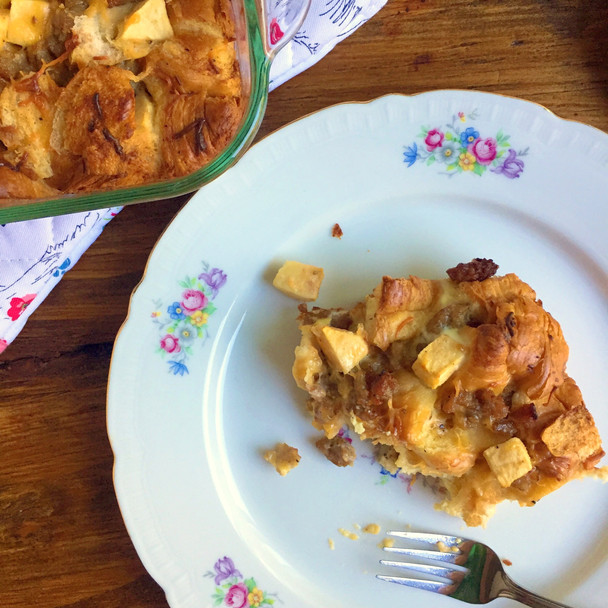 Maple, Apple, Cheddar Croissant Bake