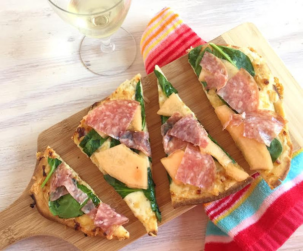 Melon, Salami, and Spinach Pizza