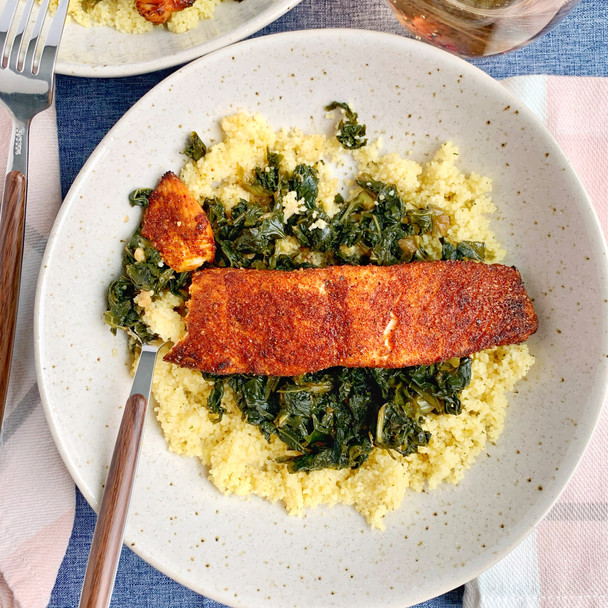 BBQ Salmon with Braised Kale