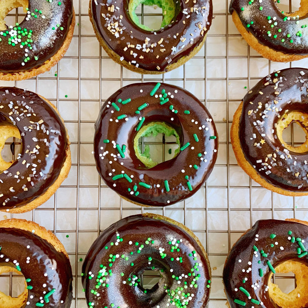 Baked Donuts with Guinness Ganache