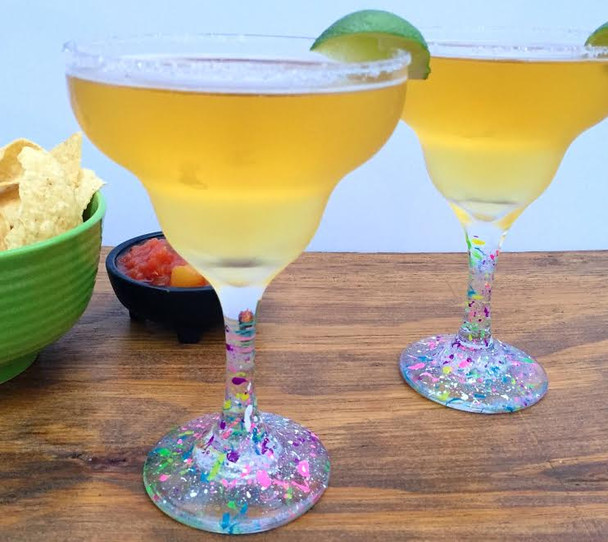 Neon Splattered Margarita Glasses