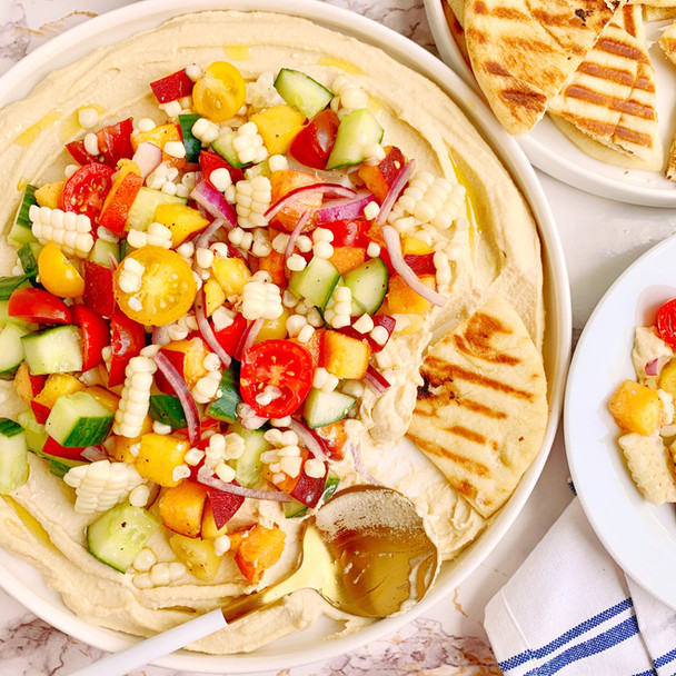 Creamy Hummus with Summer Salad