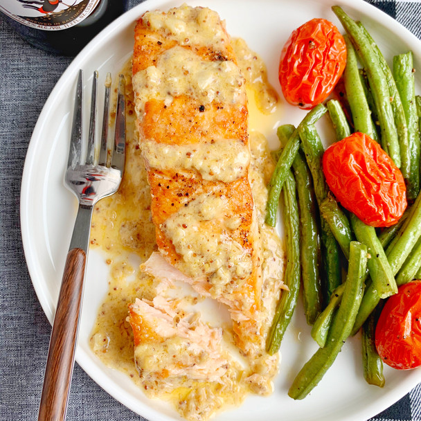 Salmon with Old Bay Mustard Cream Sauce