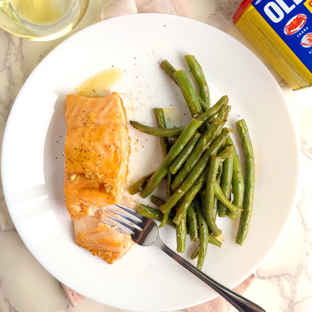 Old Bay Honey Garlic Salmon with Green Beans