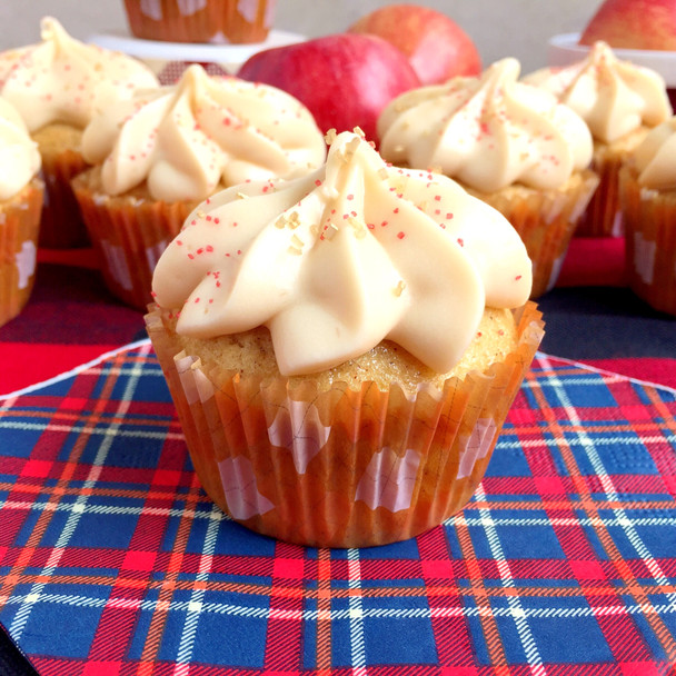 Apple Cider Cupcakes with Caramel Cream Cheese Frosting