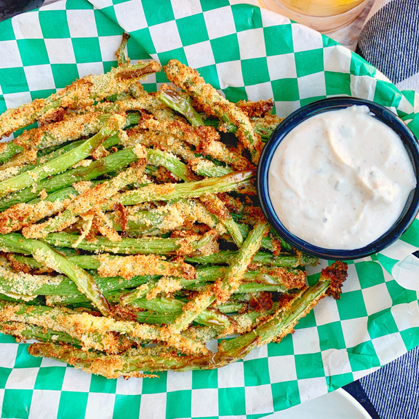 Air Fried Green Beans Fries with Wasabi Ranch Dip