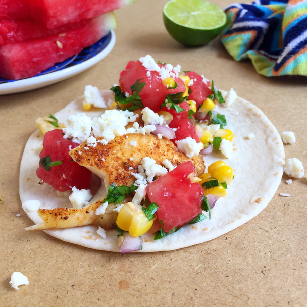 Fish Tacos with Watermelon Corn Salsa