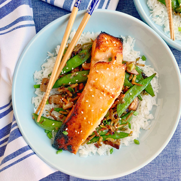 Miso Glazed Salmon with Coconut Rice