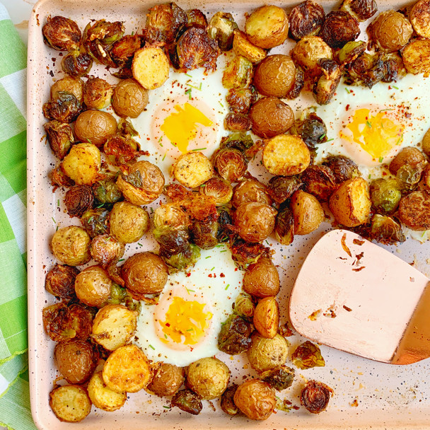 Sheet Pan Brussels, Potatoes, and Eggs