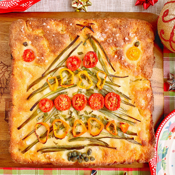 2 Ingredient Dough Christmas Focaccia