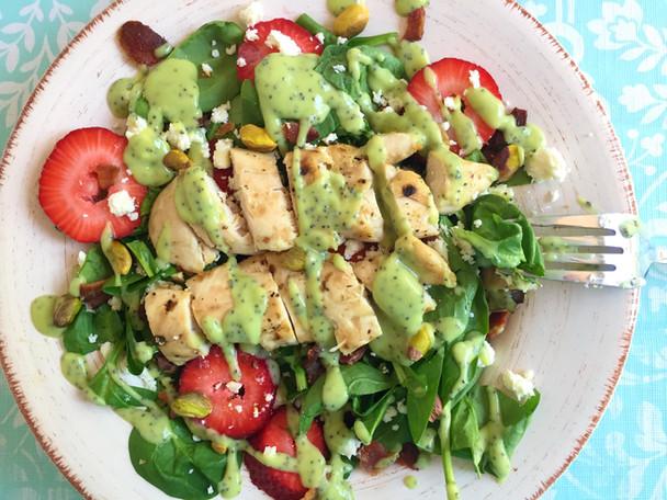 Strawberry Fields Salad with Avocado Poppyseed Dressing