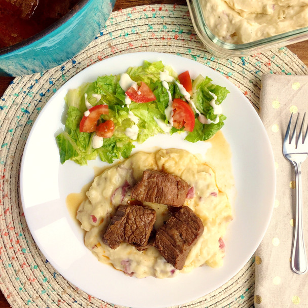 Beer Braised Beef with Smoked Gouda Mash