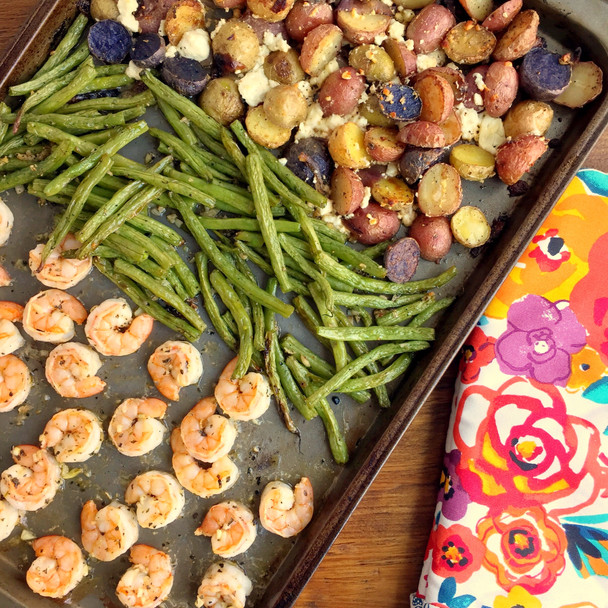 Sheet Pan Greek Shrimp, Potatoes, and Green Beans