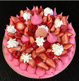 Picture of a pretty pink strawberry pavlova