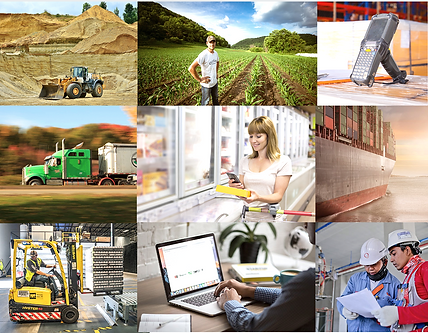 Aggregation of nine images showing most of the stakehokders in the supply chain: miner, farmer, driver, consumer, warehouse oprator, IT manager