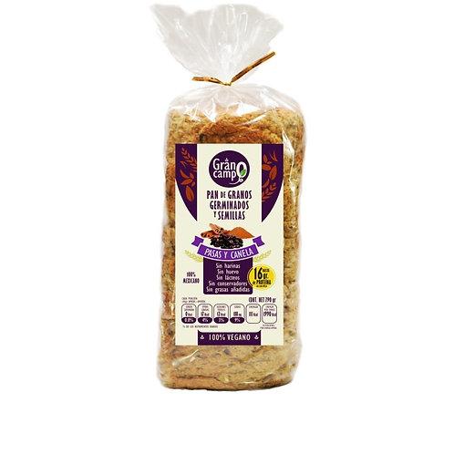 Pan granos germinados pasas&canela