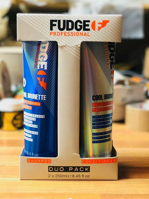 NEW Fudge Cool Brunette Blue Tonning Shampoo Conditioner DUO 250ml