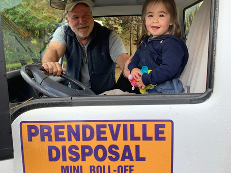 Addie loves to help Uncle Mike drive the container truck in Morristown!