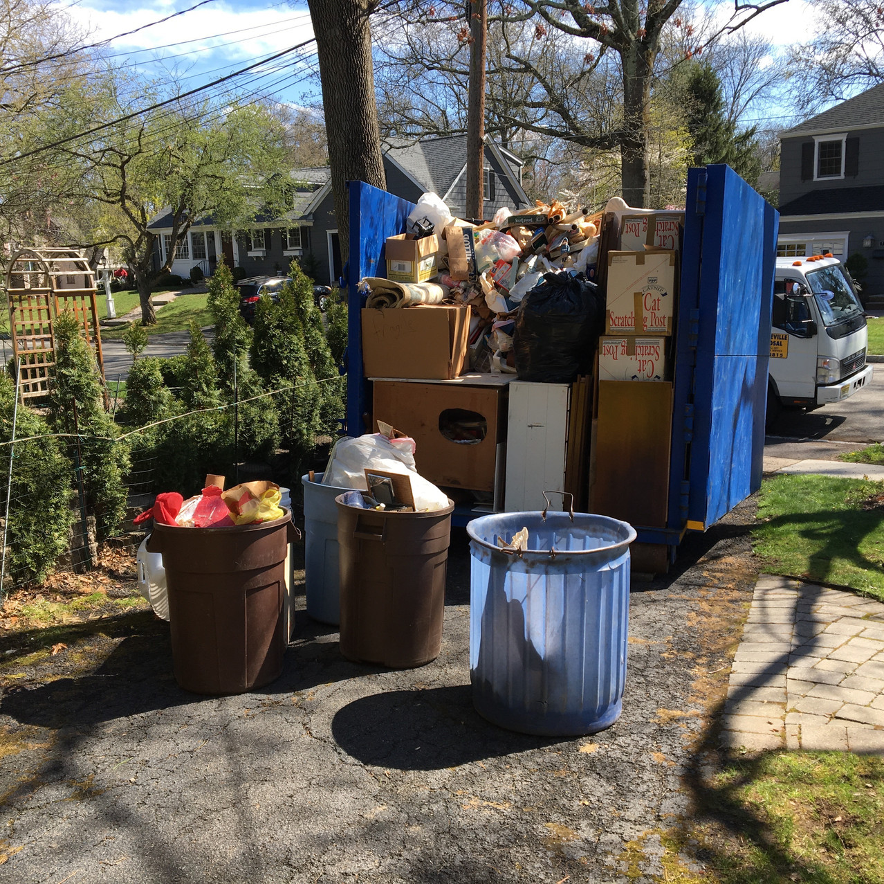 Household items loaded for disposal.