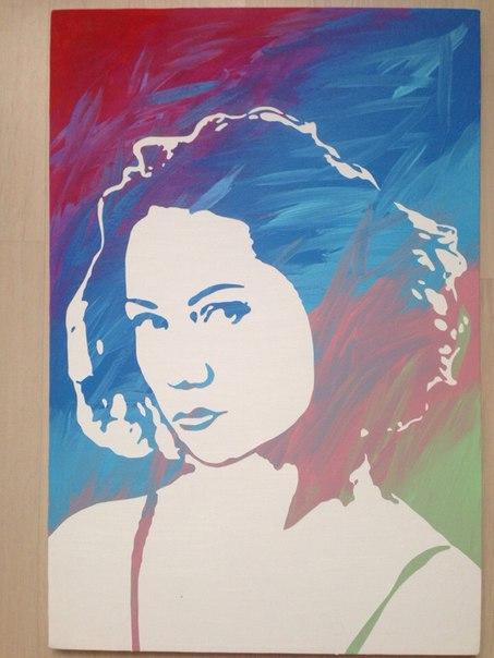 Стенсил арт портрет по фото 40х60 см.