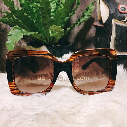 70sタイガー柄べっ甲風オーバーサイズサングラス