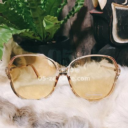 70sクリアフレームピンクゴールドオーバーサイズサングラス