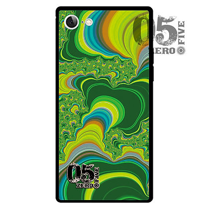 05 iPhoneスクエア型強化ガラスケース サイケ-グリーン