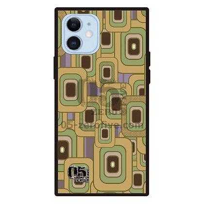 05 iPhoneスクエア型強化ガラスケース レトロスクエア-イエロー