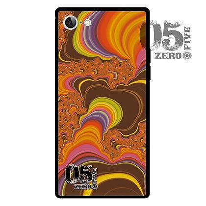 05 iPhoneスクエア型強化ガラスケース サイケ-オレンジ