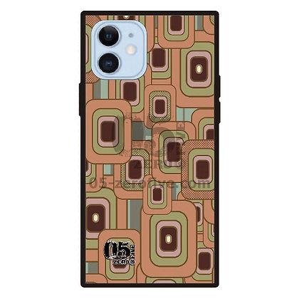 05 iPhoneスクエア型強化ガラスケース レトロスクエア-オレンジ