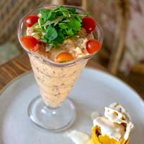 Ceviche de camarón en restaurante malanga del trópico