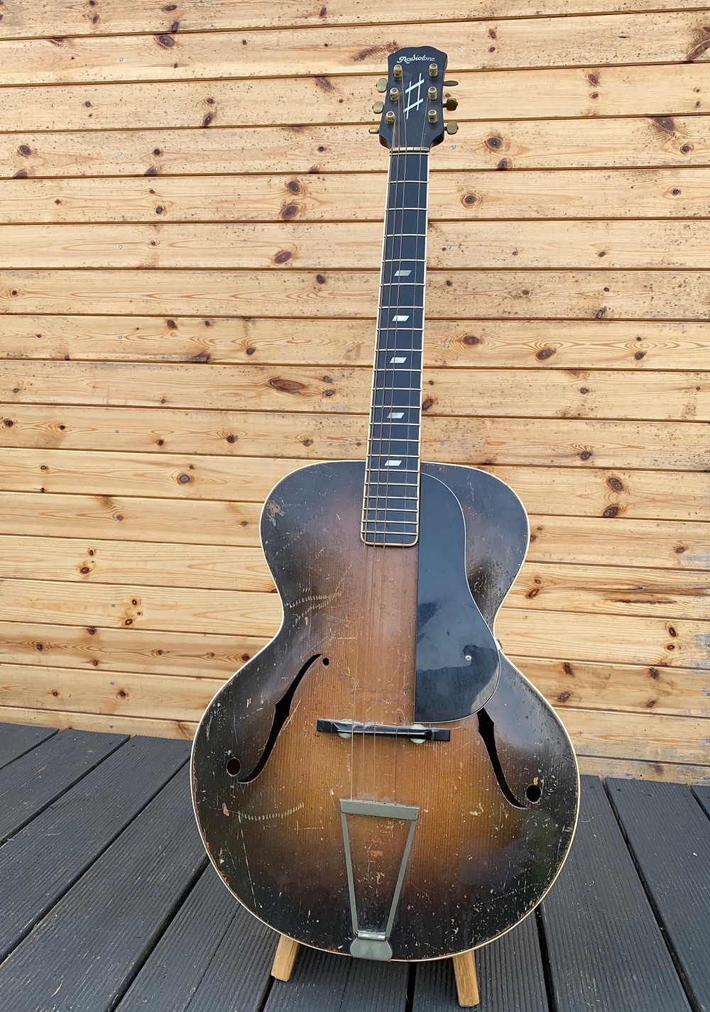 A playworn Radiotone Archtop at the Malone Guitars workshop, prior to restoration