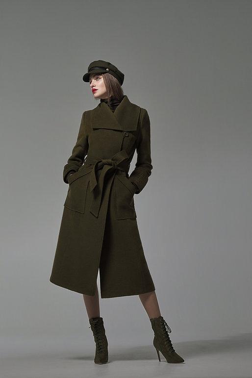 SENTALER_Long_Wide_Collar_Wrap_Coat_Army