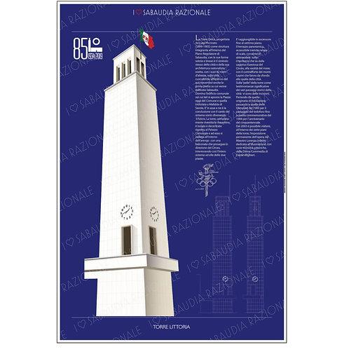 Manifesto della Torre Littoria - Galleria Papier - Sabaudia Razionale