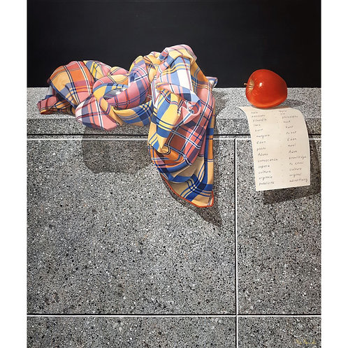Catello D'Amato - La Mela - Tecnica mista su tela - Iperrealismo - Exclusive Galleria d'arte Papier