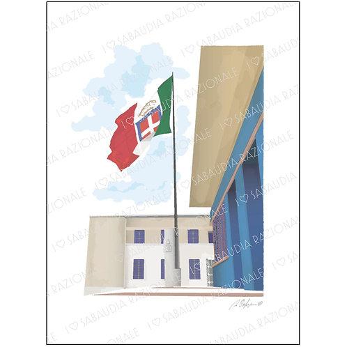 Caserma dei carabinieri - Acquerello Razionale - Sabaudia Razionale for Galleria Papier