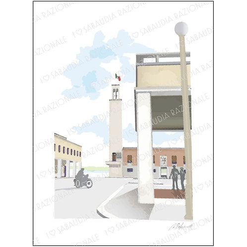 Piazza della Rivoluzione - Acquerello Razionale - Sabaudia Razionale for Galleria Papier