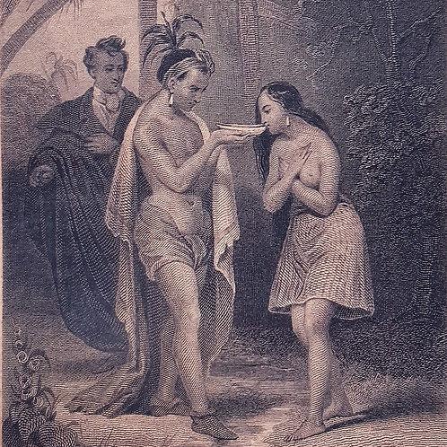 Chateaubriand il viaggio, Les Natchez incisione di Revel 1842 Galleria Papier