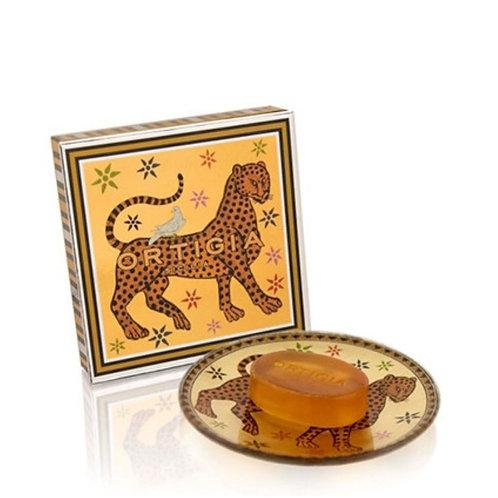 Ortigia Ambra Nera Glass Plate and Soap Gattopardo 40 gr - Profumo Profumeria Artistica Sabaudia