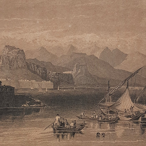 Chateaubriand Corfu acquaforte del 1842 di Pourvoyer Galleria Papier