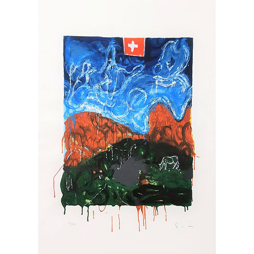 Mario Schifano - Veduta Svizzera 1997 - Galleria Papier