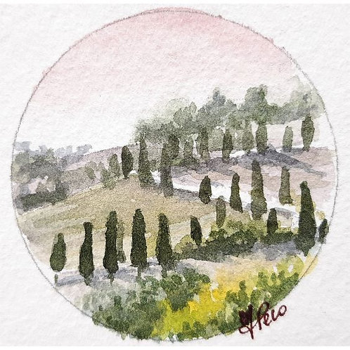Federica Peco - Val d'Orcia - acquerello su carta preparata - Exclusive Galleria d'arte Papier