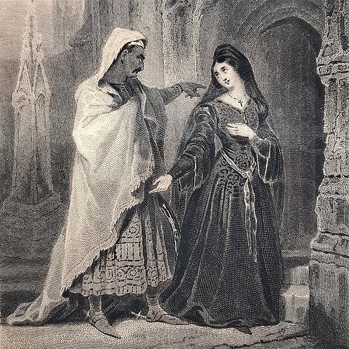 Chateaubriand il viaggio, Le Dernier Abencerrage incisione di Pelée del 1842 Galleria Papier